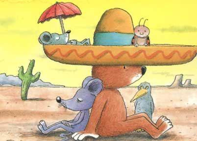 Ontwerp: Erwin Moser titel: De Sombrero , illustratie uit het boek -De wonderlijke berentijd-. Postkaart