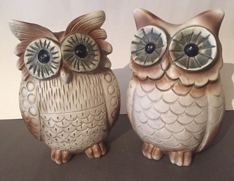 Mr U0026 Mrs Owl Pair Garden Ornaments Decorative Brown Resin Wedding Gift Mum  NEW In Garden