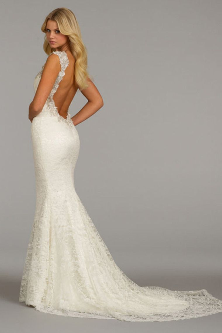 Backless mermaid wedding dresses backlees wedding dress 2014 graceful lace wedding dress v neck backless a line with beads picture 6 junglespirit Image collections