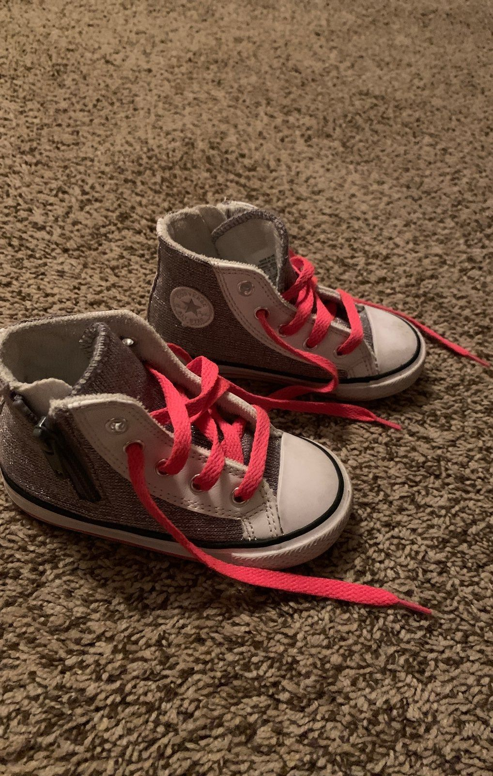 toddler converse. Gray white and pink
