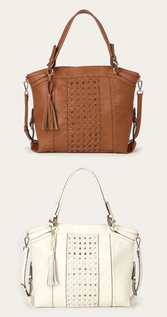 Roomy tan and ivory tote bags