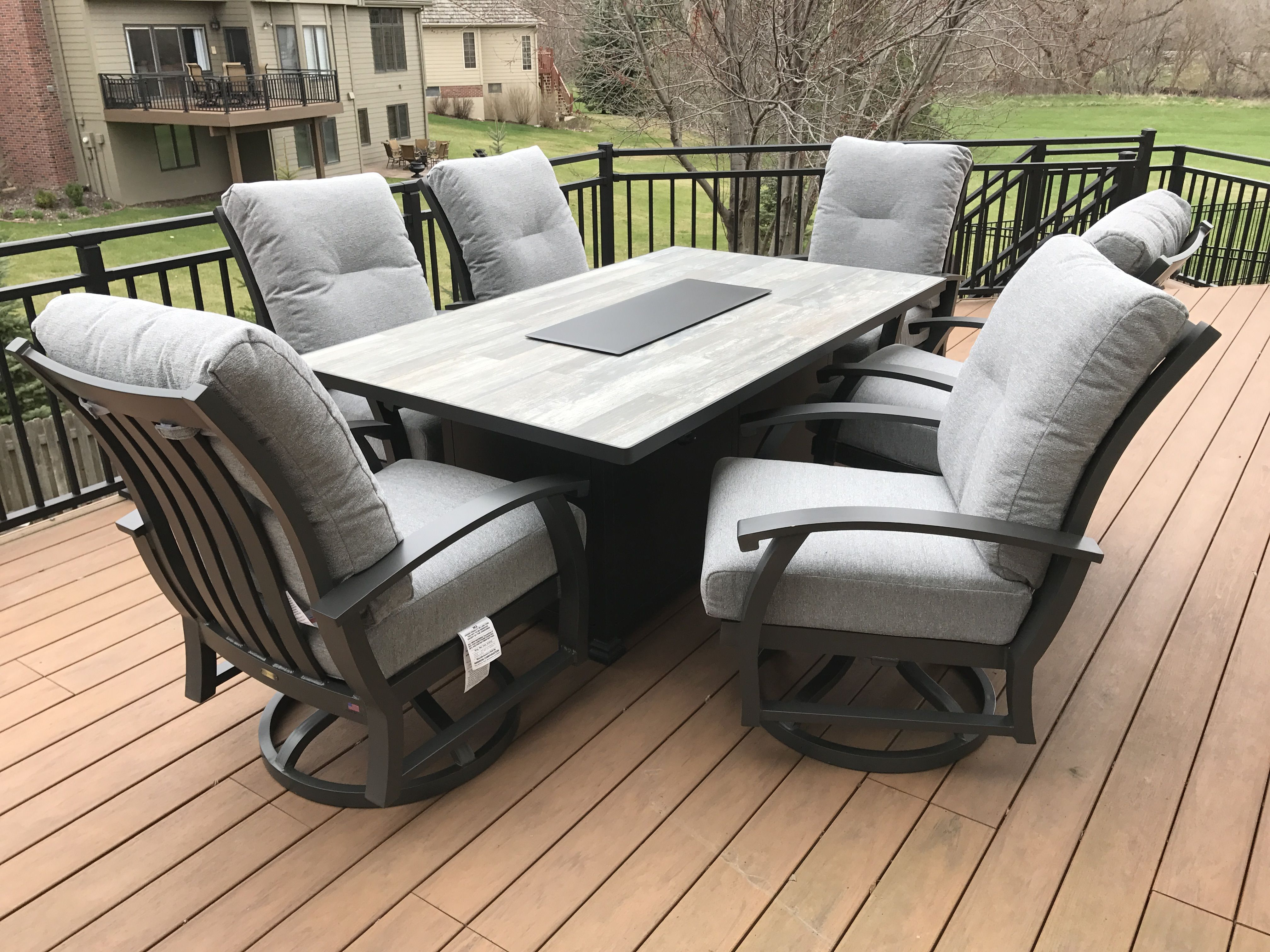 Gray Patio Furniture And Fire Pit Table By O W Lee Curl Up In
