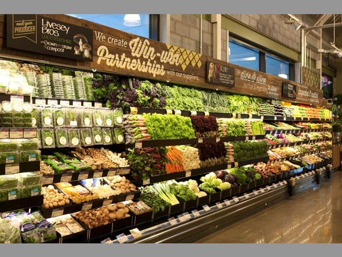 Fruit & Veg isle of a high end supermarket, isle looks clean, well ...