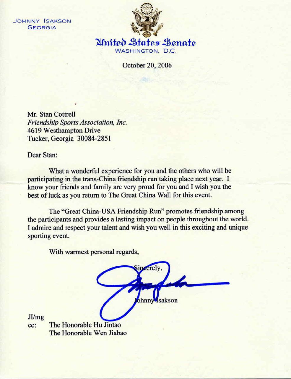 Senator Johnny IsacksonS Letter To Stan Cottrell With Admiration