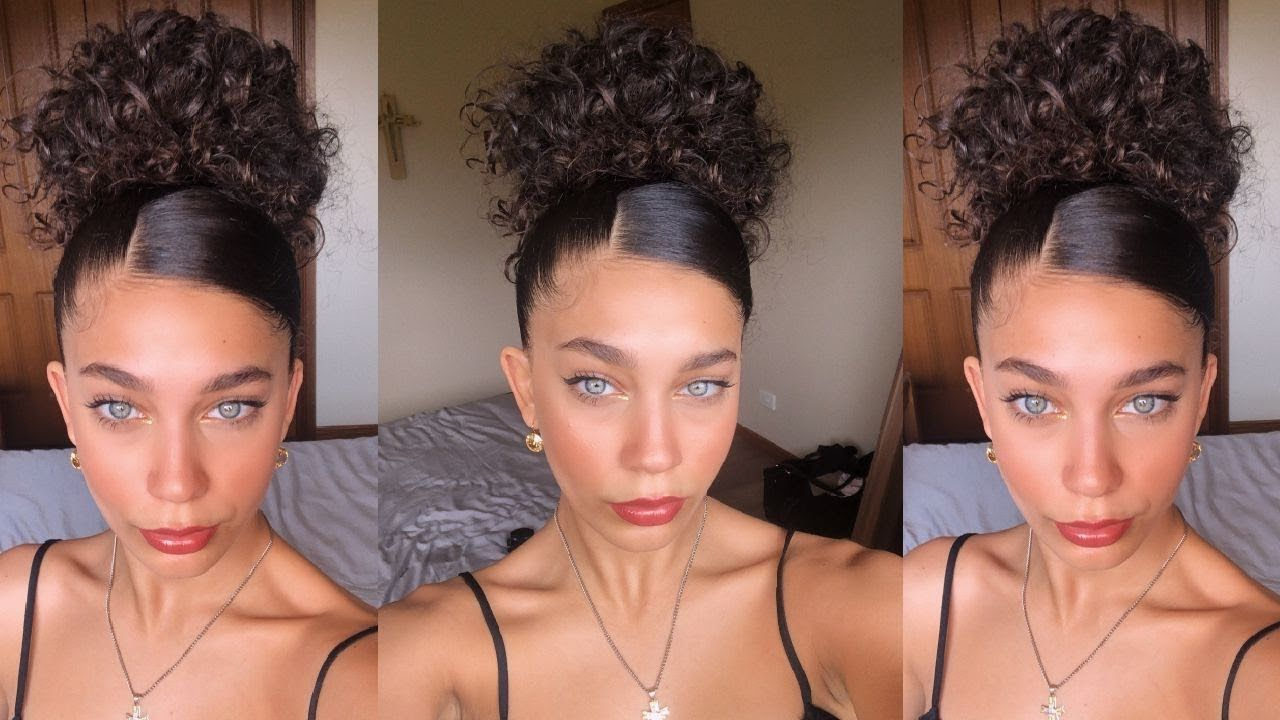Easy Formal Hairstyle For Naturally Curly Hair Jayme Jo Youtube Bun Updo Curly Hair Styles Naturally Naturally Curly Hair Updo Easy Formal Hairstyles
