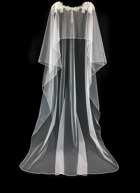 Wedding Cape With Silver Accented Lace Cape Wedding Dress Wedding Cape Bridal Cape