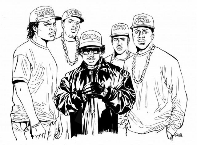 Tokyo Tribe S Inoue Draws Straight Outta Compton Cast Hip Hop Art Rapper Art Straight Outta Compton