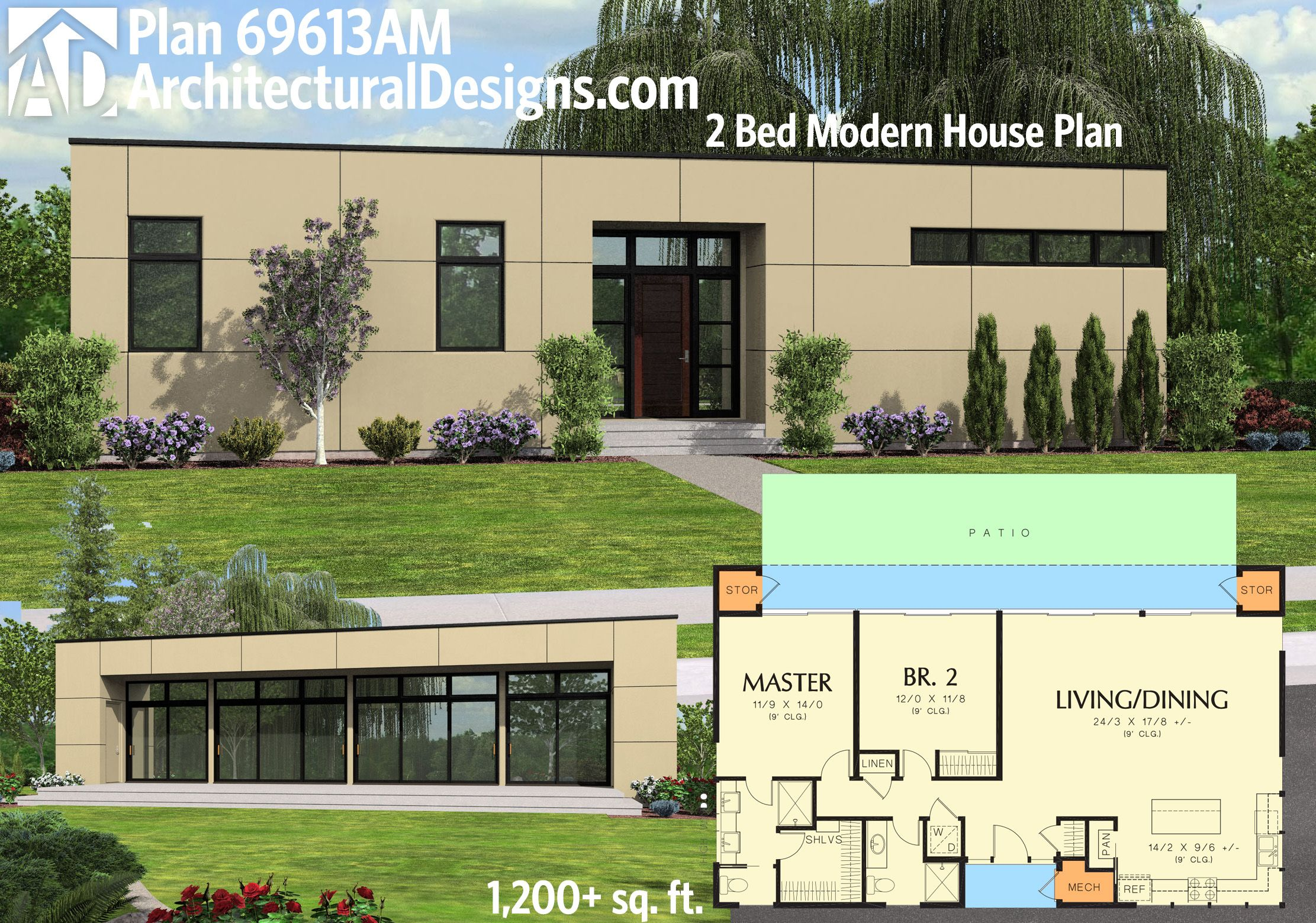 Amazing Architectural Designs 2BR Modern House Plan 69613AM. First Sold To A Client  In Maine.