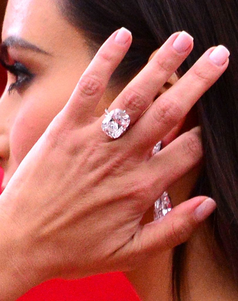 Kim Kardashian flaunted her megawatt diamond engagement ring on the ...