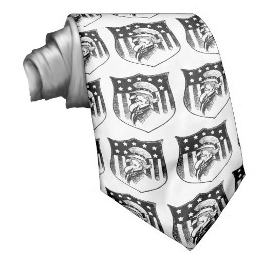 Patriotic tie with a black and white vintage illustration of Uncle Sam and the American Flag.