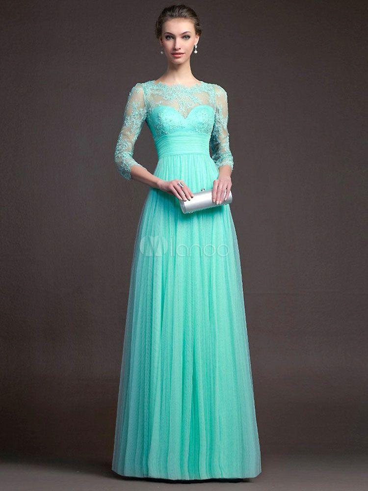 vestido largo de encaje con escote estilo marinero de color liso de