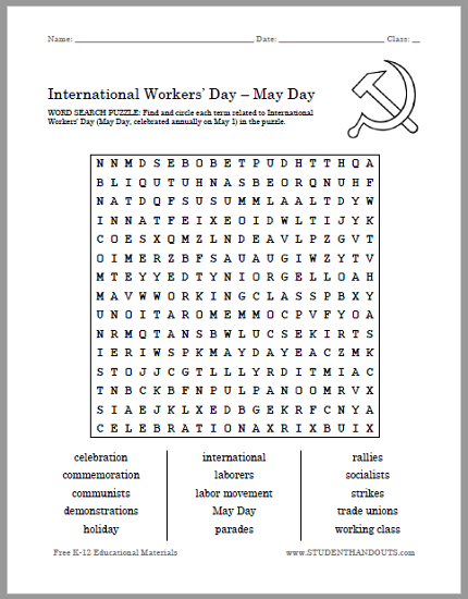 picture about Labor Day Word Search Printable referred to as Worldwide Employees Working day (May possibly Working day) Phrase Look Puzzle