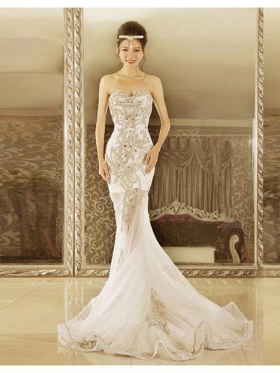 Mermaid/trumpet Floor-length Sweetheart Lace-up Rhinestone Court Wedding Dress