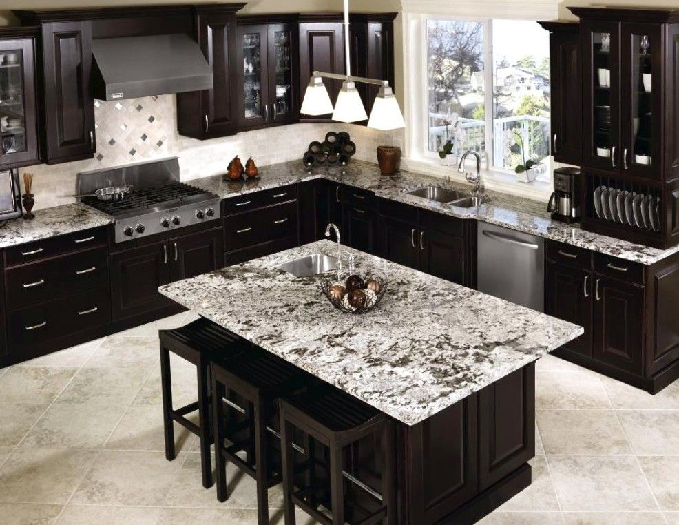 Light Colored Tile Backsplash Ideas With Dark Cabinets Luxury White Spring Granite Countertop