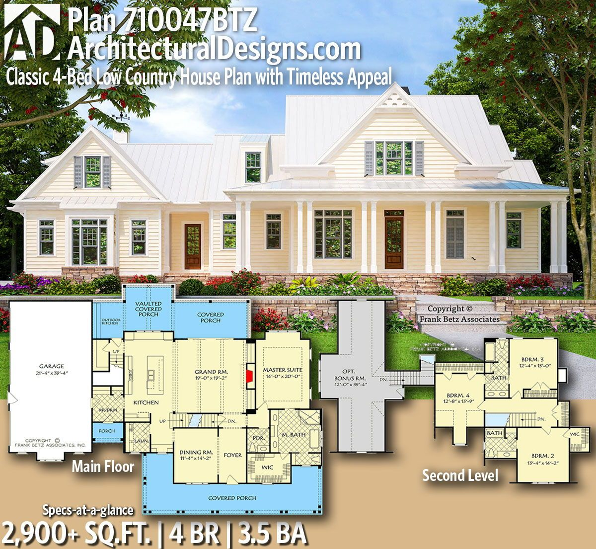 Photo of Plan 710047BTZ: Classic 4-Bed Low Country House Plan with Timeless Appeal