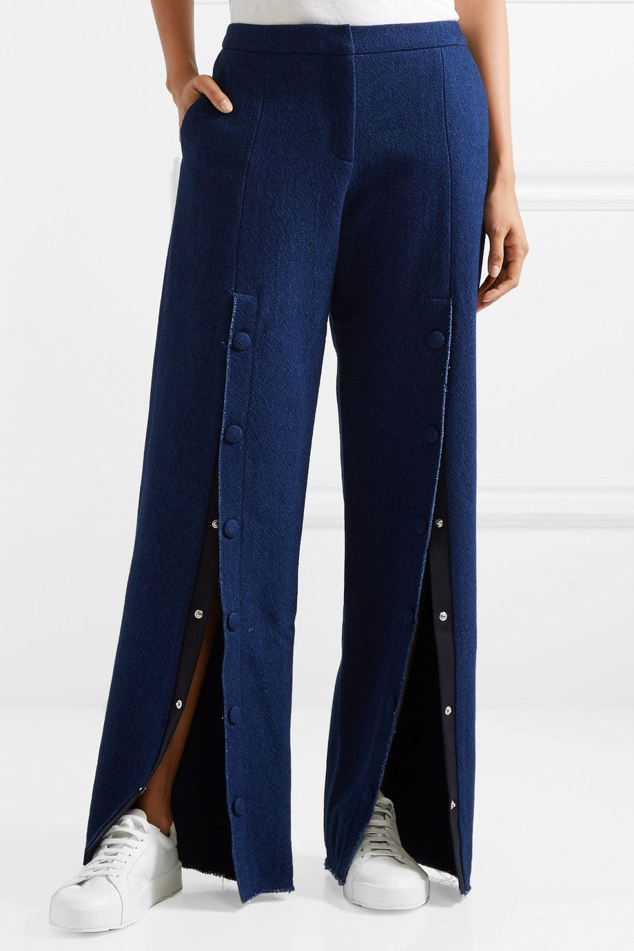 Elza Button-embellished Mid-rise Wide-leg Jeans - Dark denim Mother Of Pearl