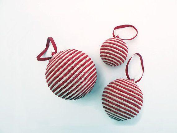 Christbaumkugeln Gestreift.Weihnachten Seil Kugel Gestreift Rot Elfenbein 3 Von