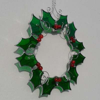 Holly Christmas Decoration made with green stained glass, red beads