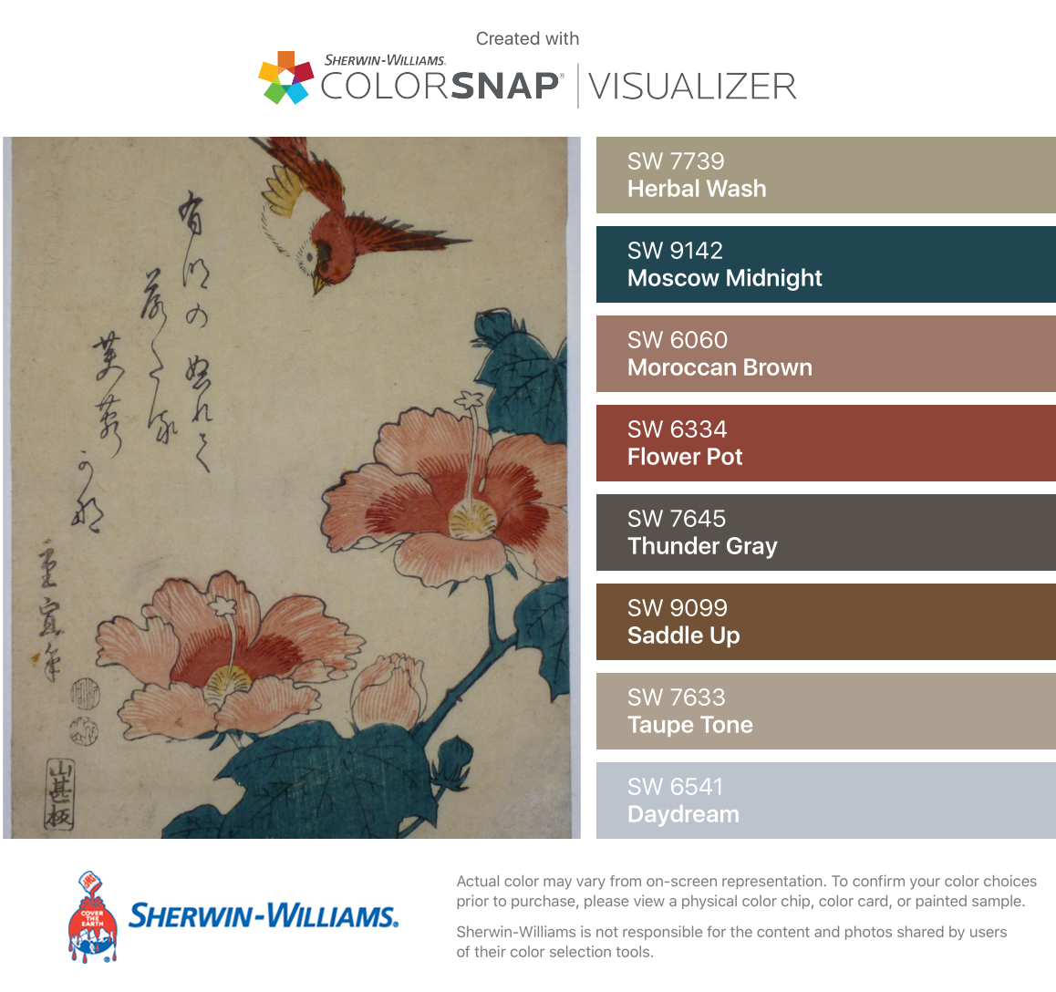 I found these colors with ColorSnap® Visualizer for iPhone by Sherwin-Williams: Herbal Wash (SW 7739), Moscow Midnight (SW 9142), Moroccan Brown (SW 6060), Flower Pot (SW 6334), Thunder Gray (SW 7645), Saddle Up (SW 9099), Taupe Tone (SW 7633), Daydream (SW 6541). #cityloftsherwinwilliams