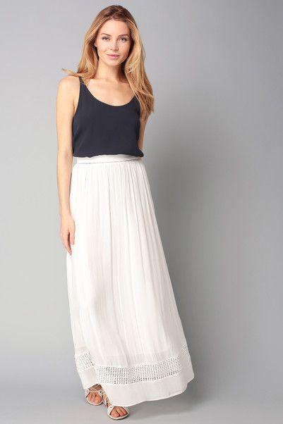 jupe longue blanche ceinture ajour e fabienne suncoo sur outfit inspiration. Black Bedroom Furniture Sets. Home Design Ideas