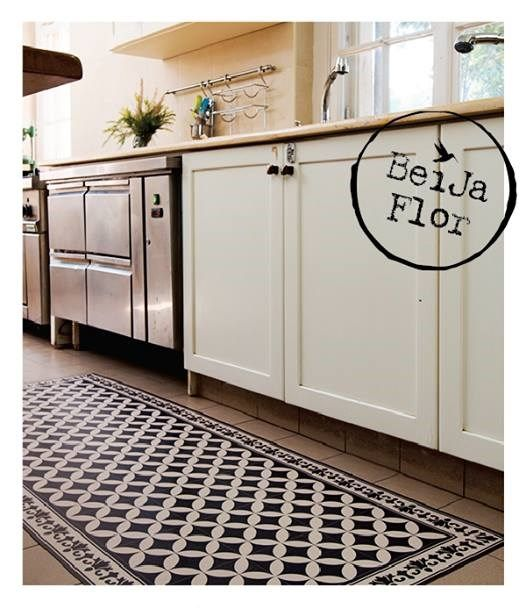 Vinyl Floor Mat Kitchen Mat With Tile Design In Turquoise: Symetric Geometric Patterns. Beija Flor Mats