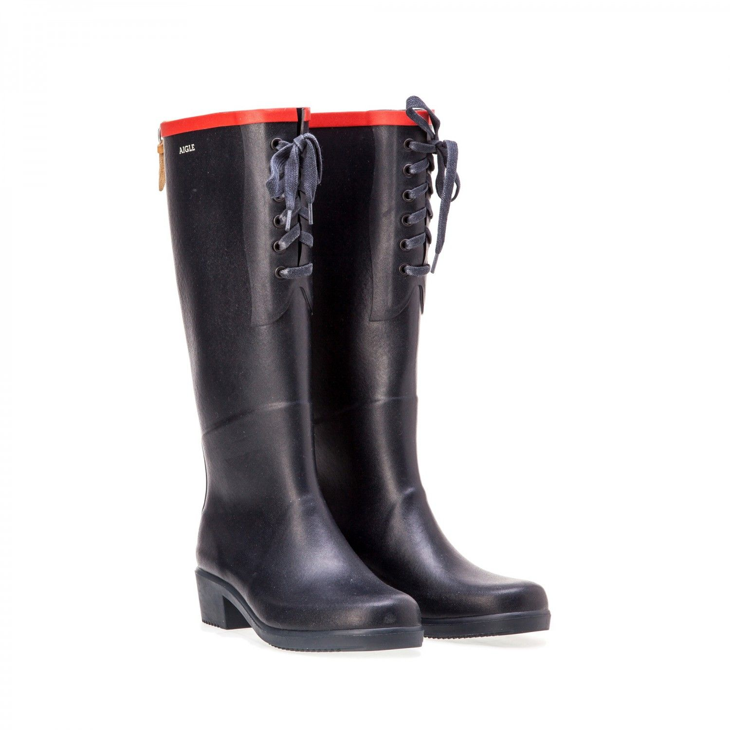 3bf44522cdb8e5 Bottes femme marine/rouge AIGLE- MISS JULIETTE LACETS -T 35. | in my ...