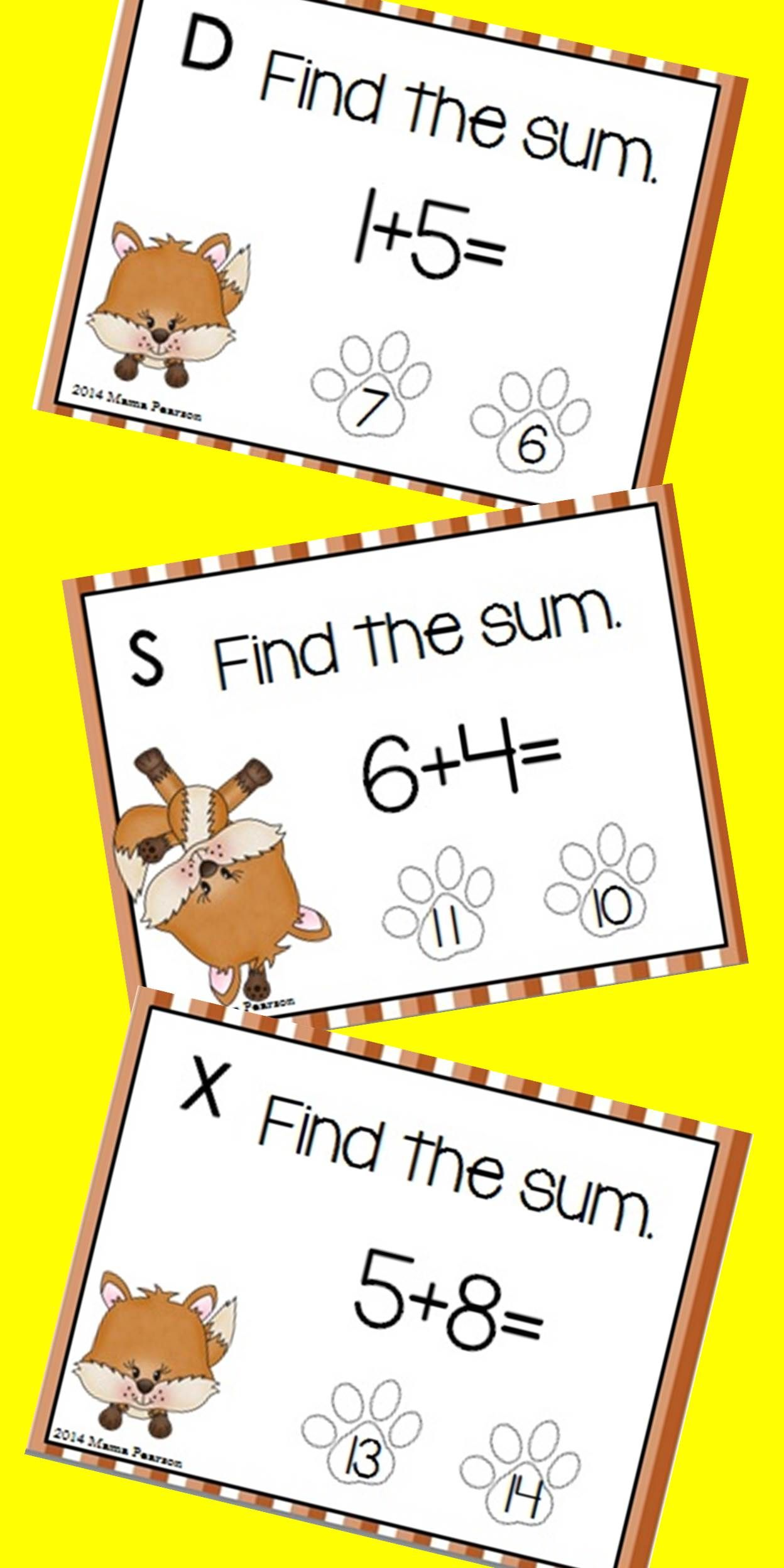Foxy Single Digit Addition Digital And Printable Task