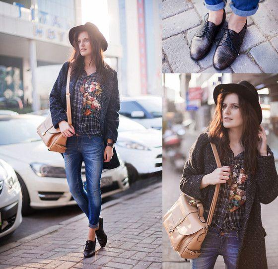 Sheinside Shirt, Rosewholesale Bag, Zara Hat, Mango Coat, Asos Jeans