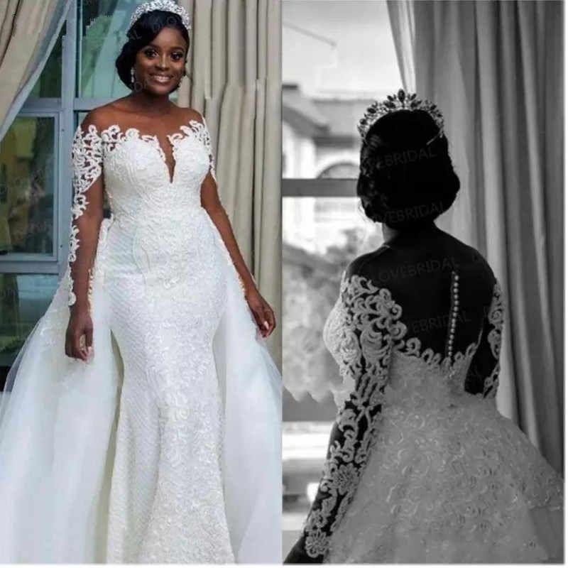 South African Mermaid Wedding Dresses Detachable Overskirt Sheer Neck Off Shoulder Long Sleeves 2019 Bridal Wedding Gowns Wedding Dresses Aliexpress In 2020 Detachable Train Wedding Dress Perfect Wedding Dress Bridal Dresses