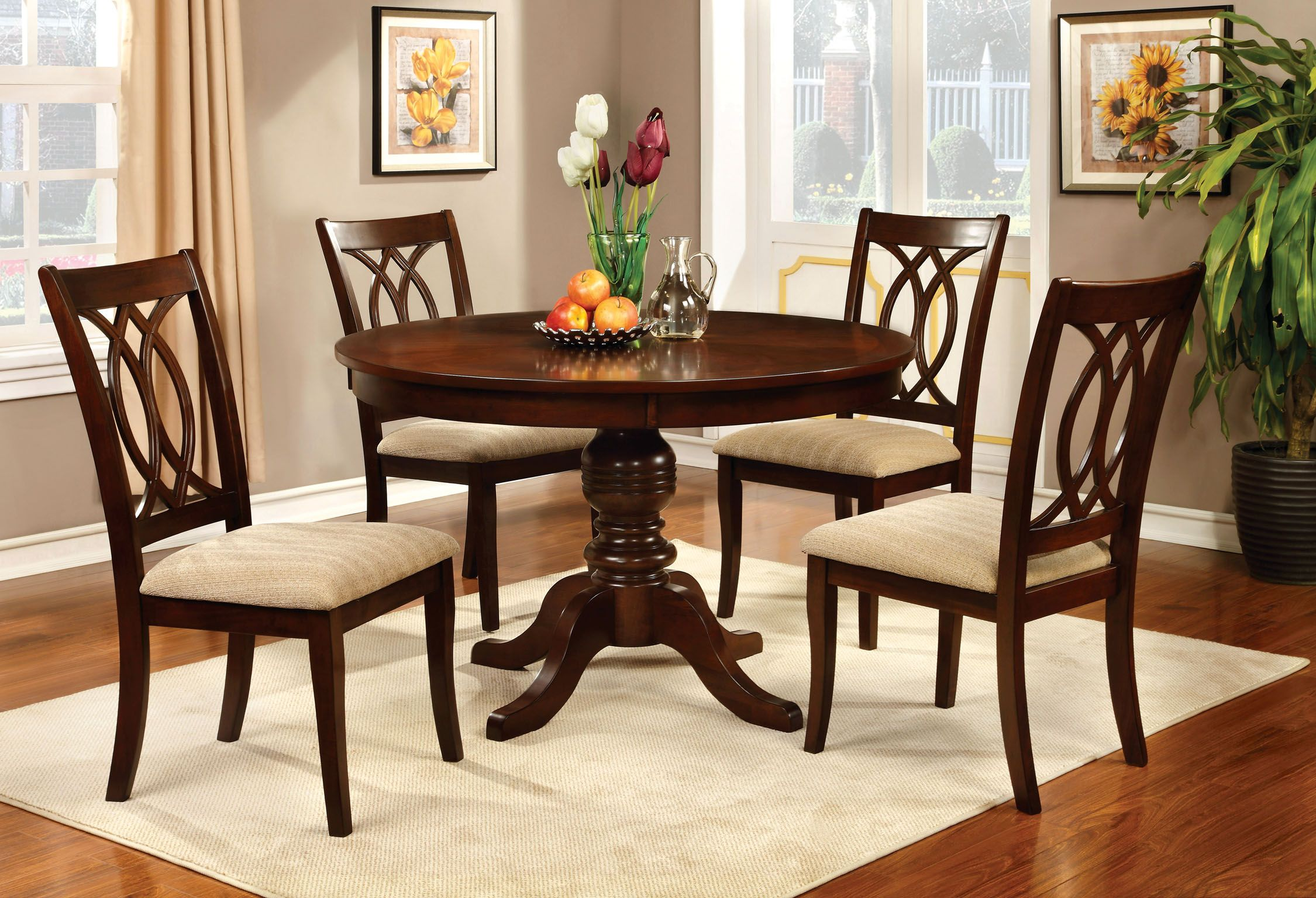7f15719ea056 Furniture of America Brennan 5-Piece Round Brown Cherry Dining Set ...