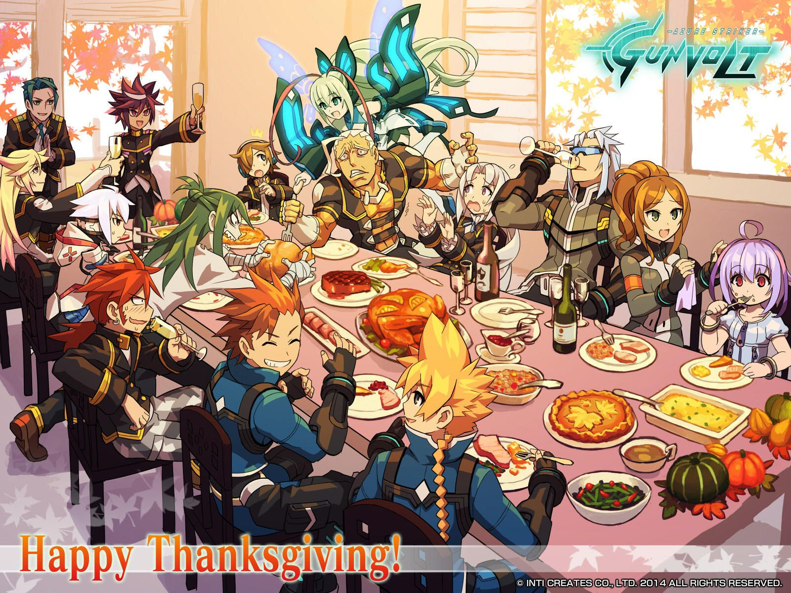 Thanksgiving Wallpaper Azure Striker Gunvolt Azure Striker Gunvolt Thanksgiving Wallpaper Azure