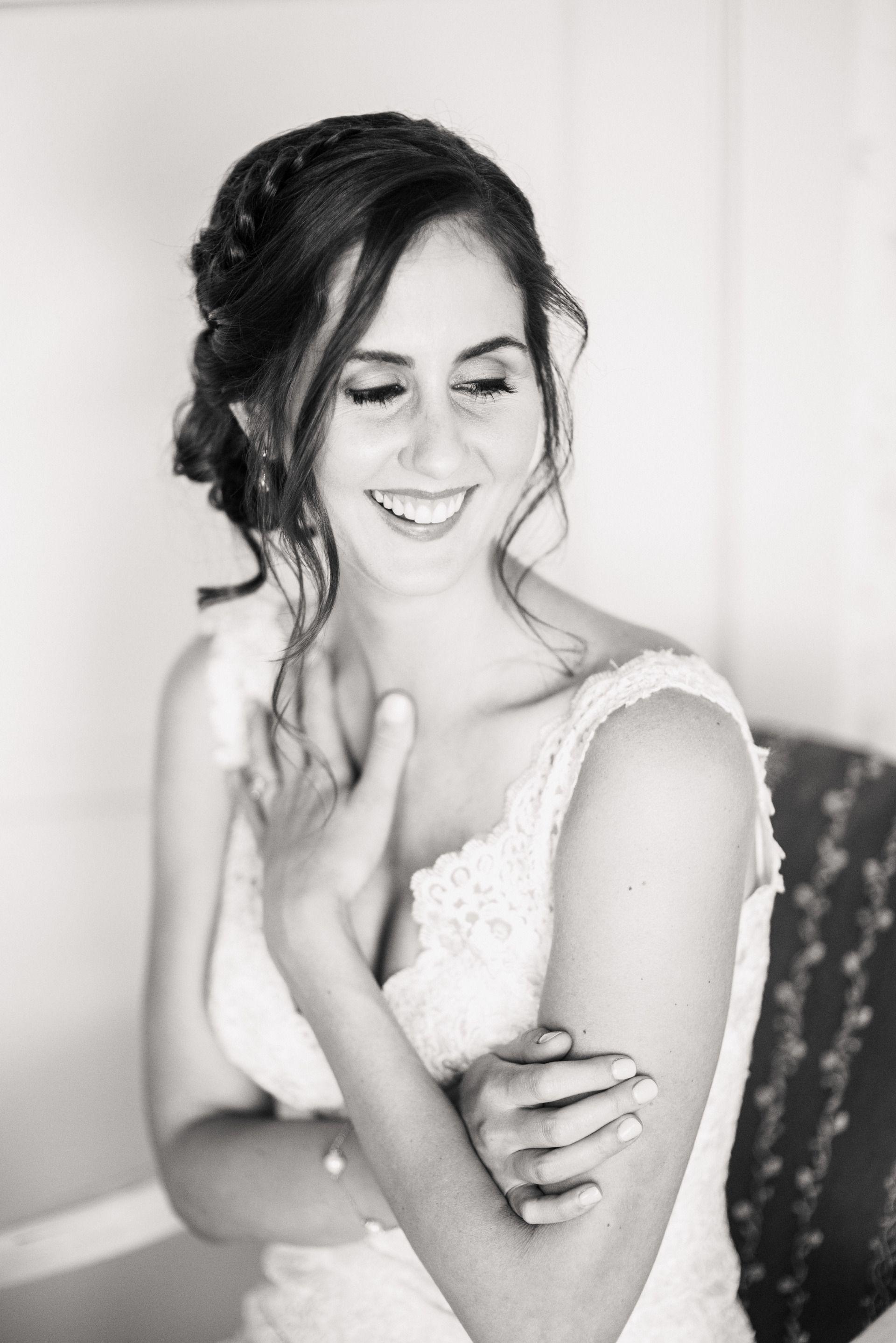 Braided bridal up-do, loose curly locks, chic wedding day hair ideas ...