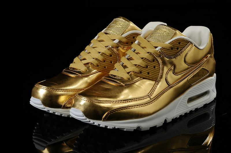 new product 62fb9 d0a5f Womens Nike Air Max 90 Metallic Gold Foil Shoes Discount ...