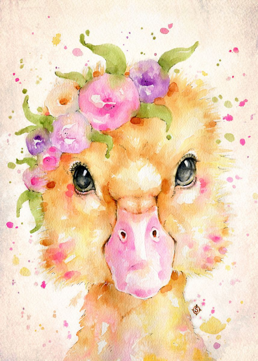 Little DuckWater colour painting of a baby duck with a floral crown by Australian… | Displate thumbnail