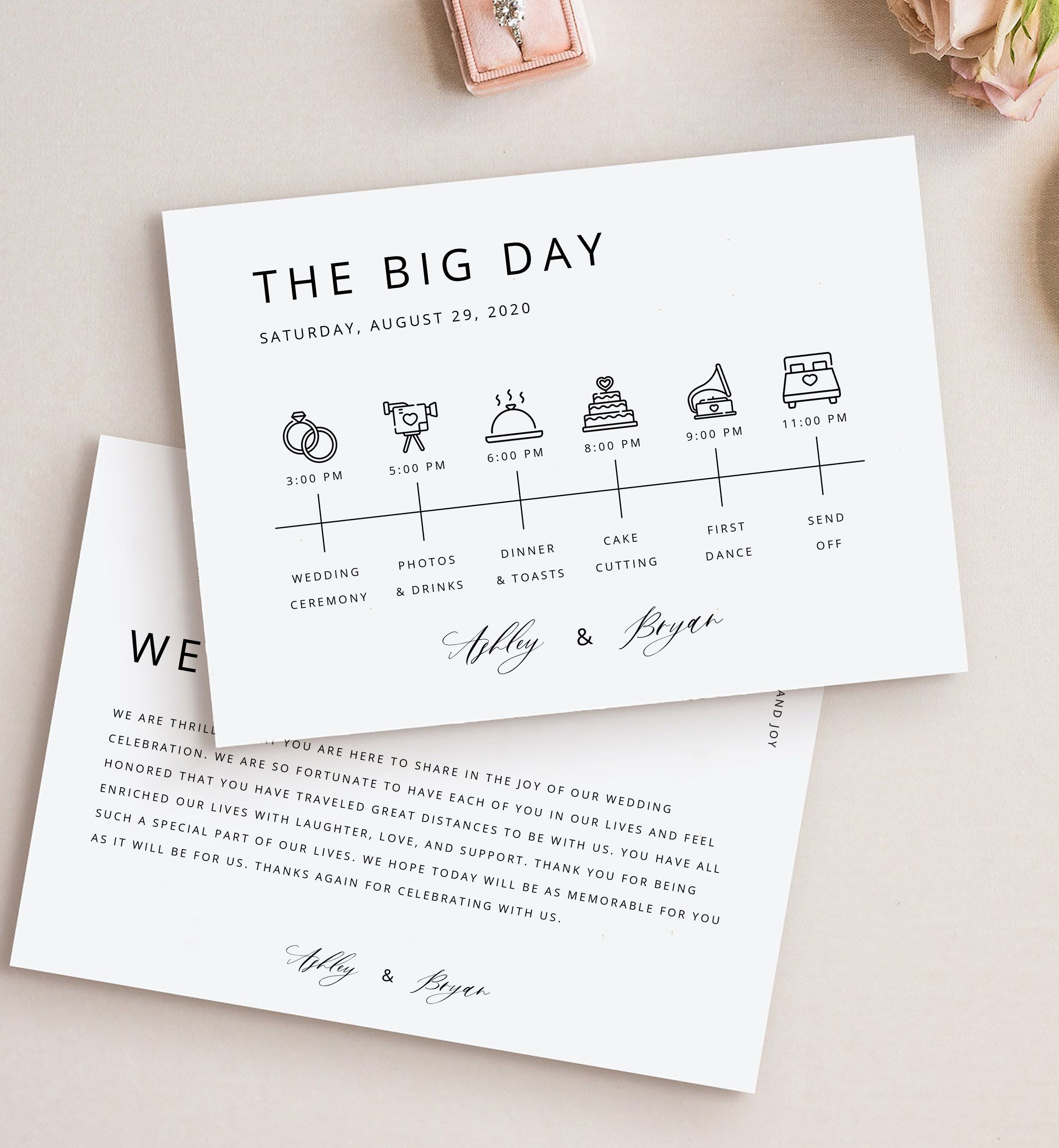Modern Minimalist Wedding Timeline Template Elegant Wedding Itinerary Download Printable Simple Wedding Itinerary Wedding Timeline Wedding Timeline Template