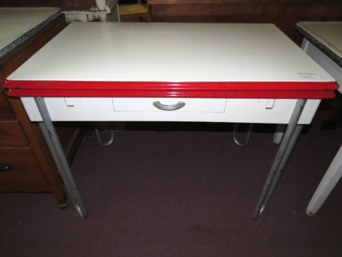 1940s red white porcelain top table 2 pull out leaf kitchen w drawer - Metal Kitchen Table