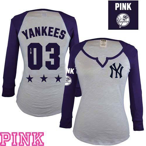 6447e891620e7 New York Yankees Victoria s Secret PINK® Split Neck Raglan Tee - MLB.com  Shop