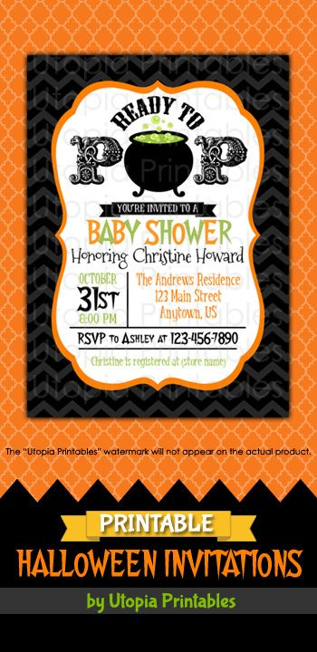 Ready to pop halloween baby shower invitation party cute cauldron printable ready to pop halloween baby shower invitation in black orange and green with a bubbling cauldron premium professional digital party invite filmwisefo