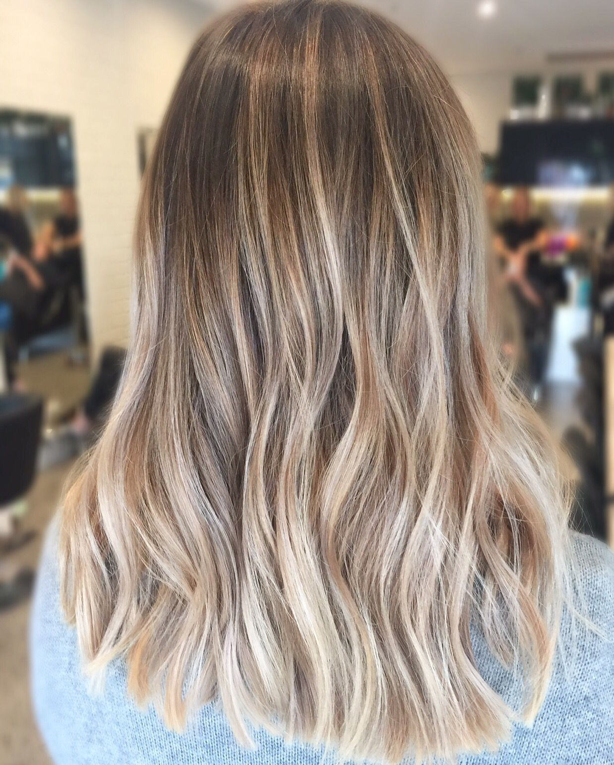 Lived in hair colour Blonde brunette golden tones Balayage face