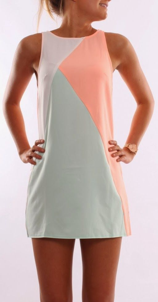 Sleeveless coral, white and mint dress. Perfect for the #PlanTheDay #LaunchParty