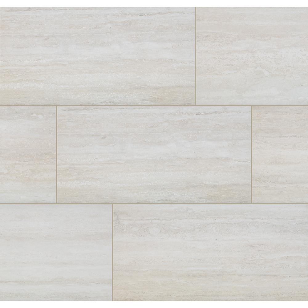 Florida Tile Home Collection Ivory Sands 12 In X 24 In Porcelain Floor And Wall Tile 435 84 Sq Ft Pallet Chdebg0112x24p The Home Depot In 2020 Porcelain Flooring Flooring Transitional Tile