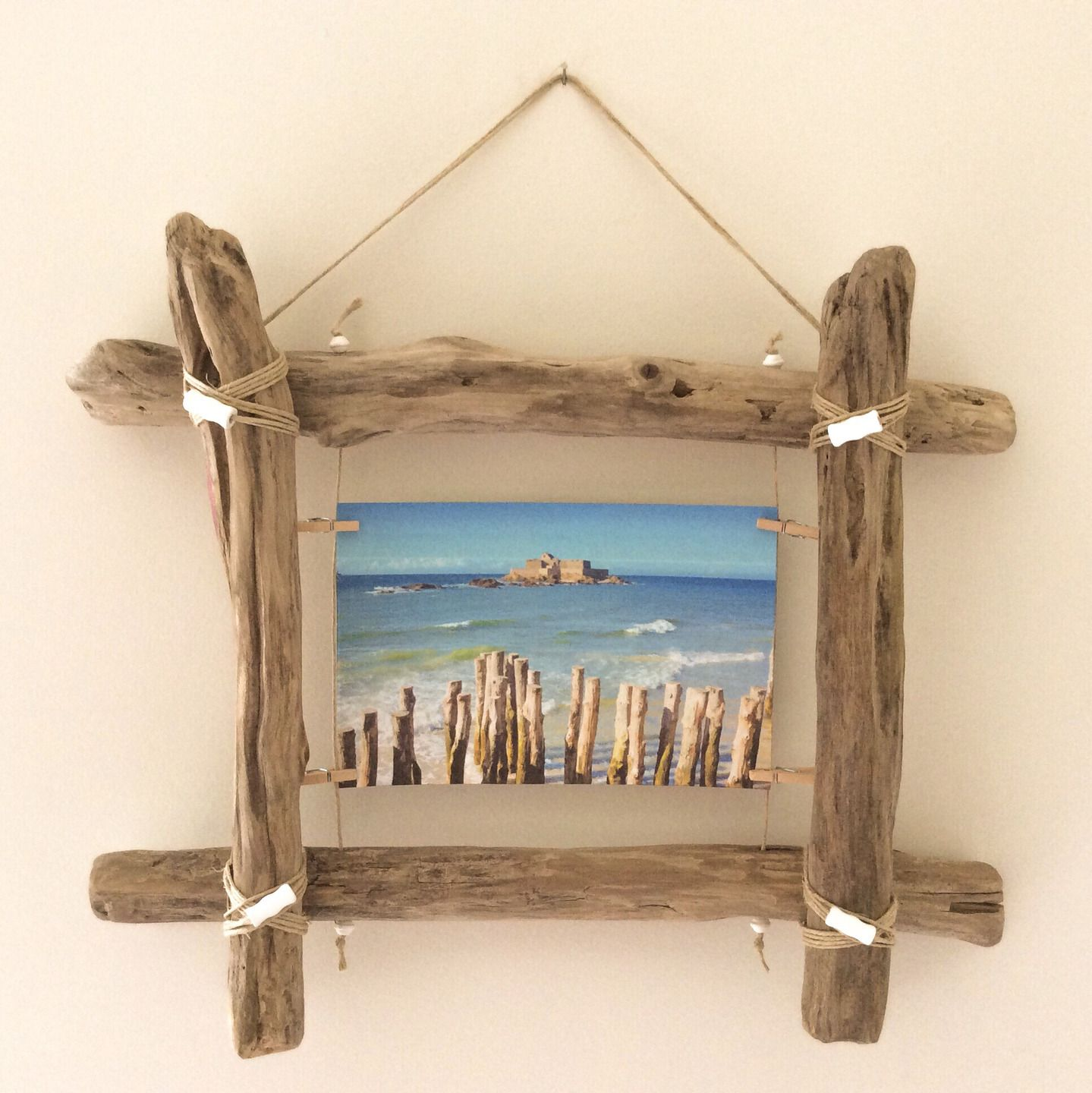 Cadre photo en bois flott par l 39 atelier de corinne for Decoration bois flotte aquarium