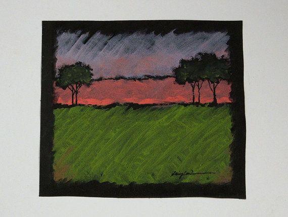 Original Acrylic Painting Night Scene Trees at by LoringLavenArt, $18.00
