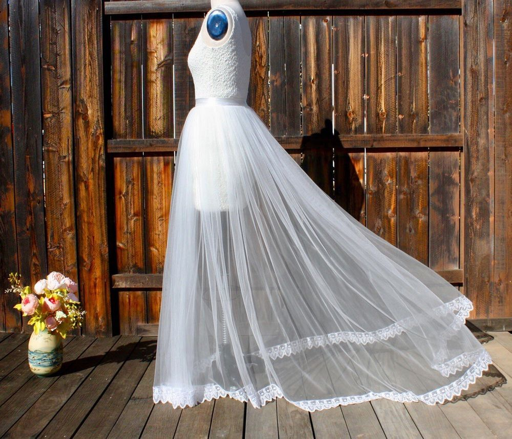 Detachable train wedding dress, Tulle Overskirt with lace