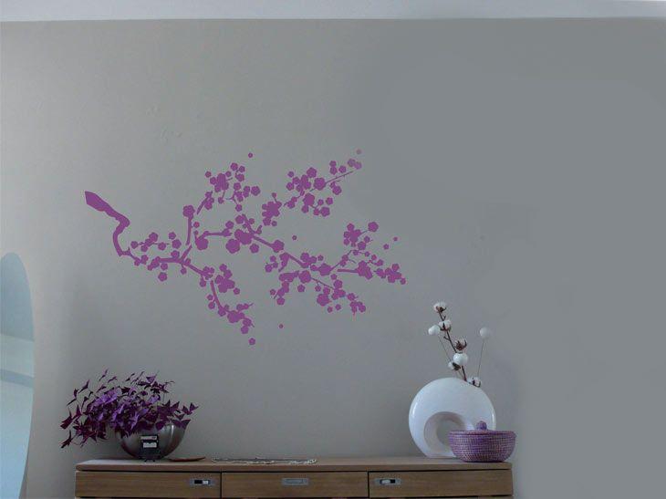 Pochoir en plastique utiliser sur tous types de supports r f pochoir l cerisier japonais - Pochoir mural chambre ...