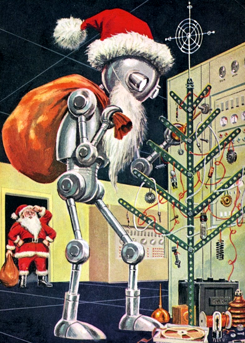 Robot Santa Claus - detail from cover December 1960 Galaxy Science ...
