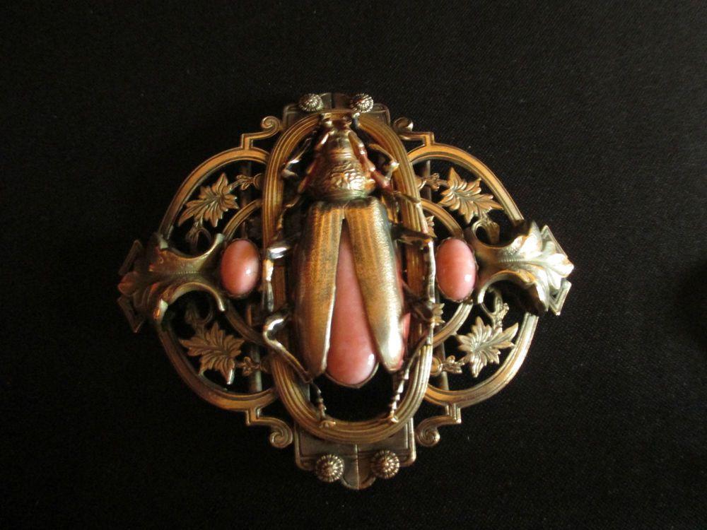 4680ea0cdd5b ancienne boucle ceinture fleur et scarabée Bronze Art Nouveau fin XIX ème  in Art, antiquités, Objets du XIXème, et avant   eBay
