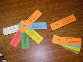 Set of cards and color code them by Blooms Level. Students can pick a question from each level. Click my picture below to snag your own cards! Enjoy and happy reading!
