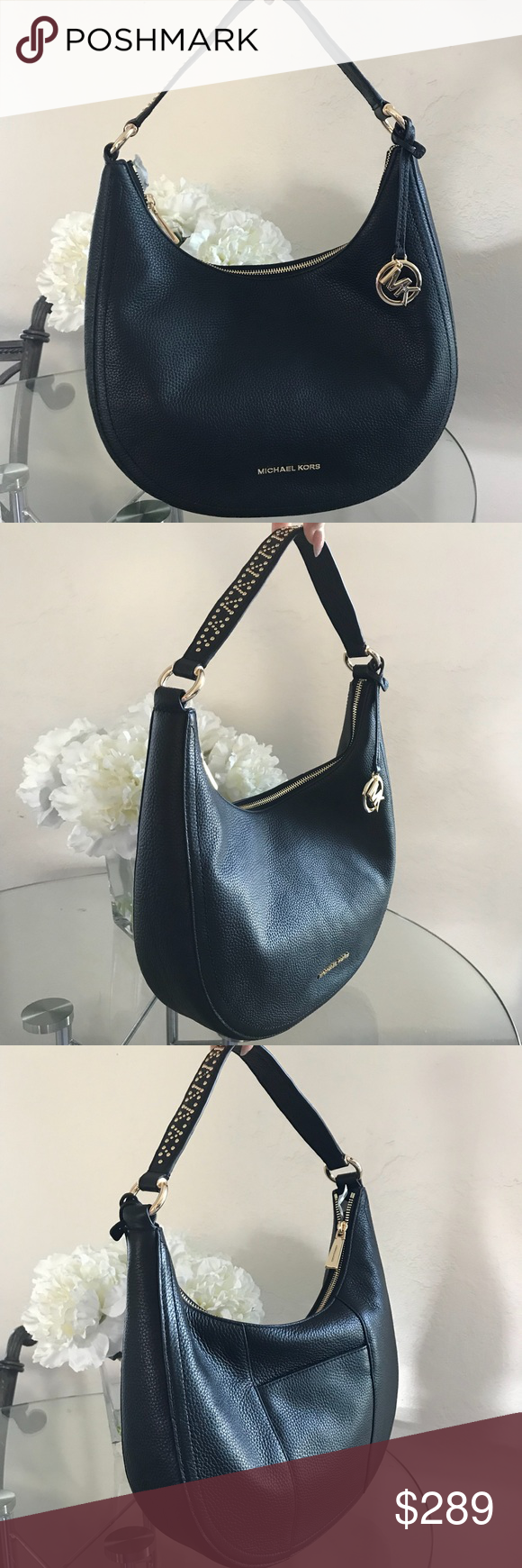 7b8f0b2271a2 Michael Kors Lydia Black Shoulder Bag Purse Brand New Michael Kors Black  Genuine Leather Lydia Medium Shoulder Bag Purse Tote Satchel.