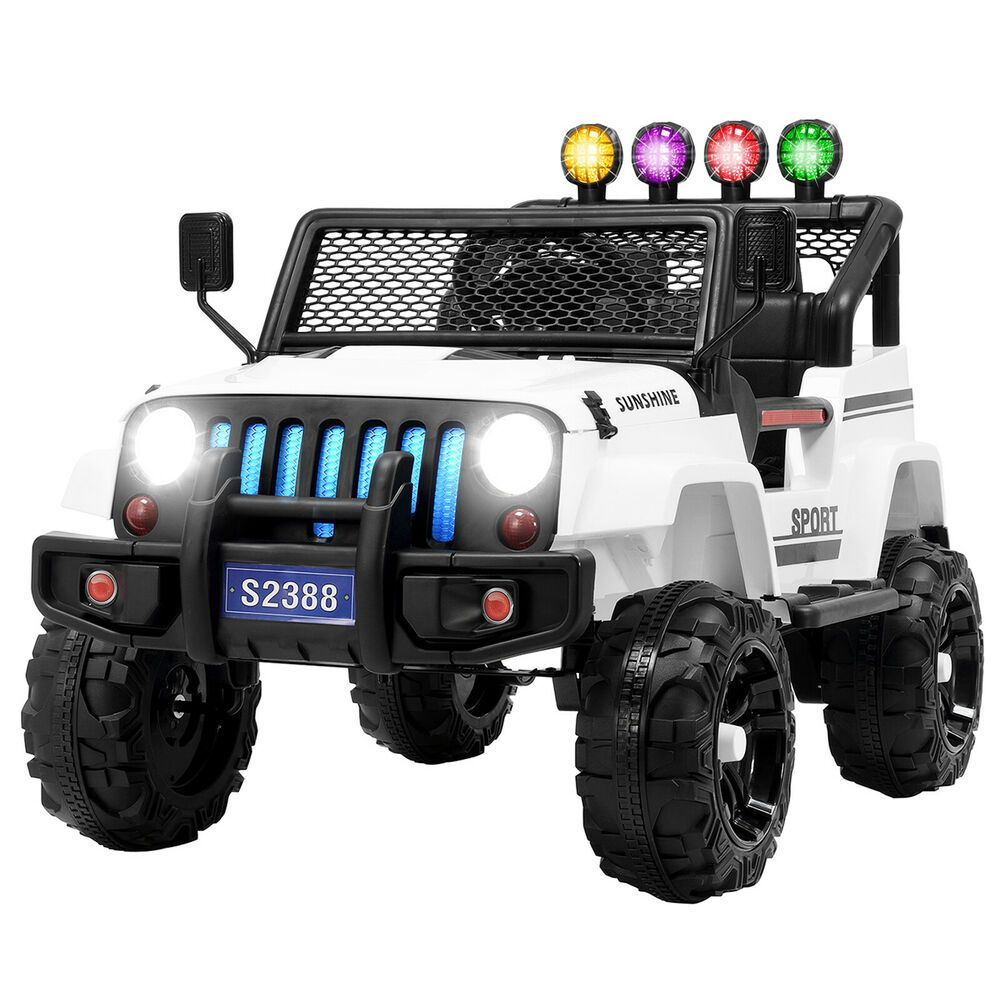 12v Kids Ride On Toy Car Jeep Wrangler Electric Battery W Remote Control White Dealmoreus Modern Kids Ride On Kids Ride On Toys Ride On Toys